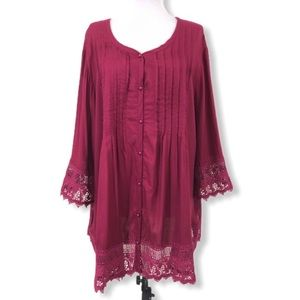 Blair 2XL Button Down Blouse Wine V-Neck Pleated